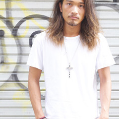 ロング 黒髪 メンズ ストリート ヘアスタイルや髪型の写真・画像