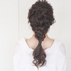 ナチュラル 大人かわいい 編み込み ロング ヘアスタイルや髪型の写真・画像