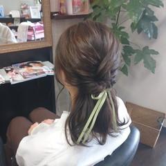アッシュグレージュ ヘアアレンジ ミディアム グレージュ ヘアスタイルや髪型の写真・画像