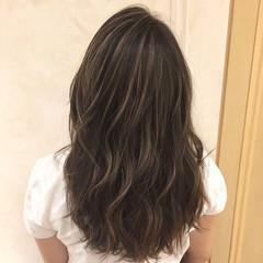 コントラストハイライト セミロング 外国人風カラー 地毛ハイライト ヘアスタイルや髪型の写真・画像