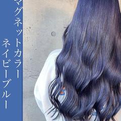ブルー ブルーアッシュ ロング ブルージュ ヘアスタイルや髪型の写真・画像