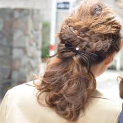 大人かわいい 春 編み込み ヘアアレンジ ヘアスタイルや髪型の写真・画像