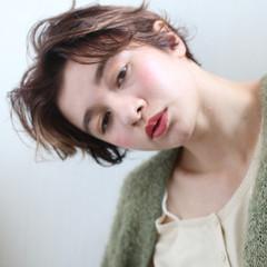 ウェーブ 女子力 ショート ナチュラル ヘアスタイルや髪型の写真・画像