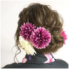 和装 まとめ髪 フェミニン ヘアアレンジ ヘアスタイルや髪型の写真・画像