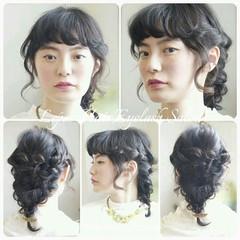 ショート 編み込み 大人かわいい ミディアム ヘアスタイルや髪型の写真・画像