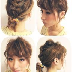 ショート 編み込み 簡単ヘアアレンジ ガーリー ヘアスタイルや髪型の写真・画像