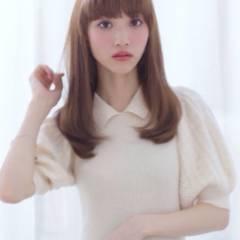 ナチュラル モテ髪 セミロング フェミニン ヘアスタイルや髪型の写真・画像