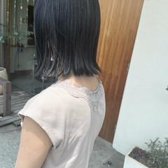 ブルーブラック ミニボブ ボブ モード ヘアスタイルや髪型の写真・画像