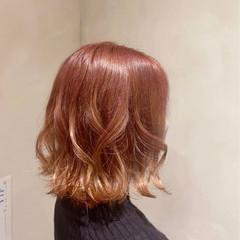 ボブ ピンクブラウン ナチュラル オレンジベージュ ヘアスタイルや髪型の写真・画像