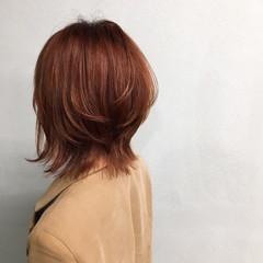 マッシュ ナチュラル オレンジベージュ ウルフカット ヘアスタイルや髪型の写真・画像