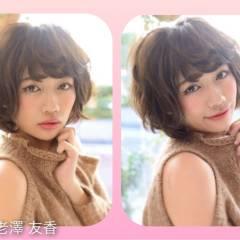 暗髪 モテ髪 ショート ウェーブ ヘアスタイルや髪型の写真・画像