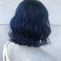 ネイビーブルー ブルーブラック コリアンネイビー ボブ ヘアスタイルや髪型の写真・画像