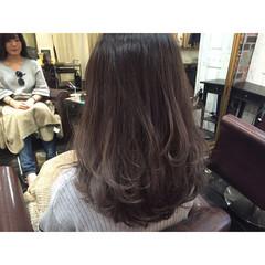 グラデーションカラー ブルージュ セミロング グレージュ ヘアスタイルや髪型の写真・画像
