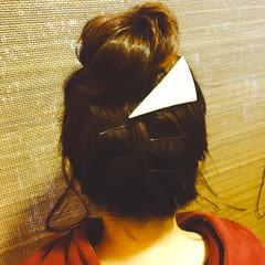 グラデーションカラー セミロング お団子 ナチュラル ヘアスタイルや髪型の写真・画像