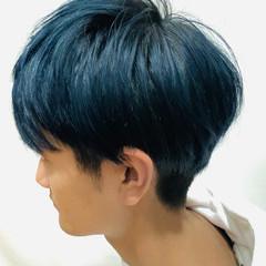 メンズ ネイビーブルー ブリーチオンカラー メンズカラー ヘアスタイルや髪型の写真・画像