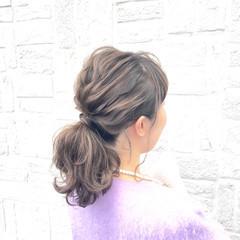 ショート セミロング 簡単ヘアアレンジ ゆるふわ ヘアスタイルや髪型の写真・画像