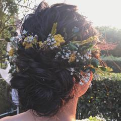 黒髪 ロング 結婚式 ナチュラル ヘアスタイルや髪型の写真・画像