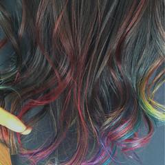 ストリート カラフルカラー ロング ハイライト ヘアスタイルや髪型の写真・画像