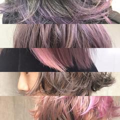 色気 ハイライト フリンジバング アッシュ ヘアスタイルや髪型の写真・画像