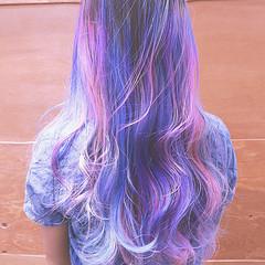 ピンク バレイヤージュ ストリート セミロング ヘアスタイルや髪型の写真・画像