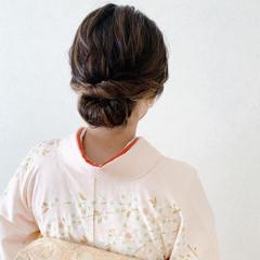 エレガント 着物 ボブ シニヨン ヘアスタイルや髪型の写真・画像