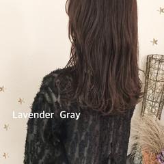 ラベンダーグレー 大人かわいい セミロング 大人可愛い ヘアスタイルや髪型の写真・画像