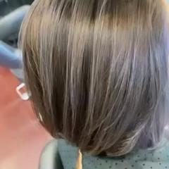 アッシュグレージュ ラベンダーグレージュ バレイヤージュ ボブ ヘアスタイルや髪型の写真・画像