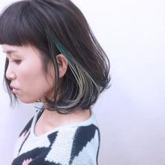色気 ボブ ウェットヘア 暗髪 ヘアスタイルや髪型の写真・画像