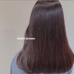 ピンクブラウン ナチュラル バイオレット 暗髪バイオレット ヘアスタイルや髪型の写真・画像