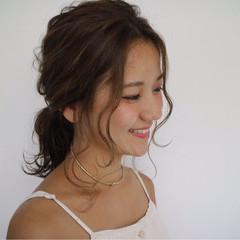 涼しげ ヘアアレンジ ミディアム 夏 ヘアスタイルや髪型の写真・画像
