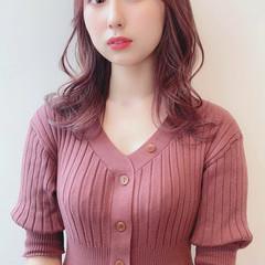 ラベンダーアッシュ 切りっぱなしボブ ラベンダーピンク ピンクアッシュ ヘアスタイルや髪型の写真・画像