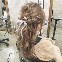 ハーフアップ ヘアアレンジ 大人かわいい 結婚式 ヘアスタイルや髪型の写真・画像