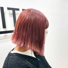 アディクシーカラー 暖色 ボブ ペールピンク ヘアスタイルや髪型の写真・画像