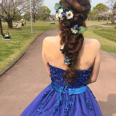ブライダル 結婚式 編みおろし ヘアセット ヘアスタイルや髪型の写真・画像