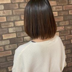 ボブ ストレート イルミナカラー 縮毛矯正 ヘアスタイルや髪型の写真・画像
