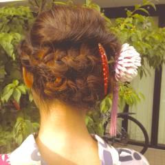 花火大会 編み込み 和装 夏 ヘアスタイルや髪型の写真・画像