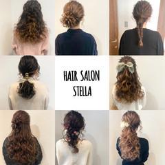 フェミニン セミロング ハーフアップ ヘアアレンジ ヘアスタイルや髪型の写真・画像