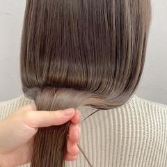 グレージュ ショートボブ ナチュラル ミニボブ ヘアスタイルや髪型の写真・画像