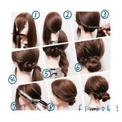 ギブソンタック ロープ編み ヘアアレンジ 簡単ヘアアレンジ ヘアスタイルや髪型の写真・画像
