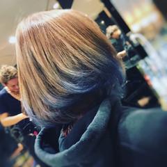 ブルー ワンカール ボブ モード ヘアスタイルや髪型の写真・画像