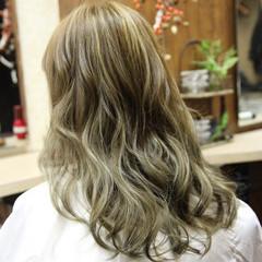 渋谷系 ハイライト ストリート セミロング ヘアスタイルや髪型の写真・画像