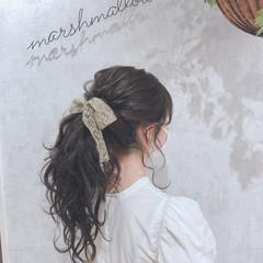 ポニーテール ポニーテールアレンジ フェミニン ポニーアレンジ ヘアスタイルや髪型の写真・画像