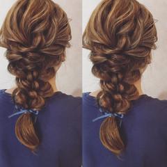 フェミニン ヘアアレンジ ロング 三つ編み ヘアスタイルや髪型の写真・画像