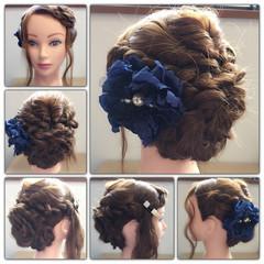 波ウェーブ 三つ編み ねじり ロング ヘアスタイルや髪型の写真・画像