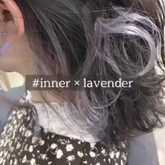 インナーカラー ホワイトカラー ミディアム ガーリー ヘアスタイルや髪型の写真・画像