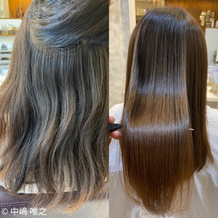 セミロング アッシュベージュ 髪質改善 髪質改善トリートメント ヘアスタイルや髪型の写真・画像