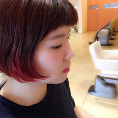 ストリート グラデーションカラー ハイライト レッド ヘアスタイルや髪型の写真・画像