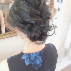 黒髪 ミディアム 簡単ヘアアレンジ 大人かわいい ヘアスタイルや髪型の写真・画像