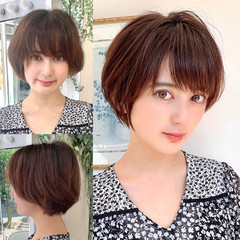 ショートボブ 大人可愛い ショートヘア 透明感 ヘアスタイルや髪型の写真・画像
