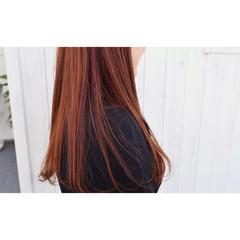 艶髪 カッパー ロング レッド ヘアスタイルや髪型の写真・画像